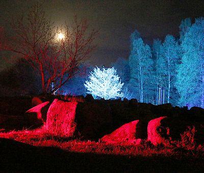 Lichteffekt zur Walpurgis in Schierke